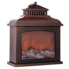 LED-Kamin, antik-braun, 30 x 36 cm