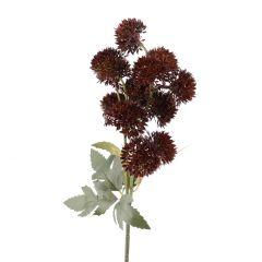 Pompom Herbst, 13 Blüten, braun, 43 cm