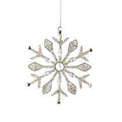 Anhänger Schneeflocke, Perlen/breit, silber