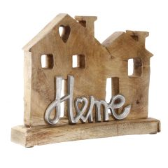 Schriftzug Home, Häuser, silbermatt