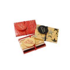 3er Set Umschlag für Gutschein, rot/gold