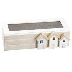 Holzbox mit Glasdeckel, Häuser, 30 cm