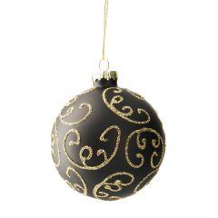Kugel Dekor, schwarz/gold, Kringel, 8 cm
