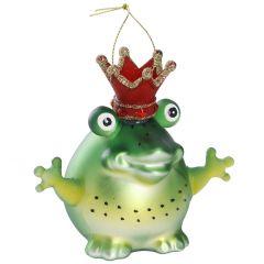 Baumschmuck Frosch mit Krone, 10 cm