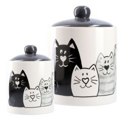 2er Set Vorratsdosen Katzen, schwarz/weiß
