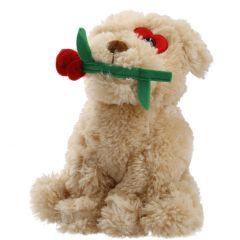 Kuscheltier Hund mit Rose, 25 cm