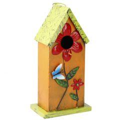 Vogelhaus Blumen, orange, 31 cm