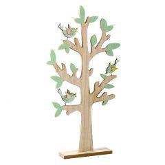 Dekobaum, 3 Vögel, dunkelgrün, 58 cm