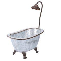 Pflanztopf Badewanne, grau/rost, 41,5 cm