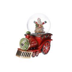 LED-Schneekugel Lokomotive, rot, 16 cm