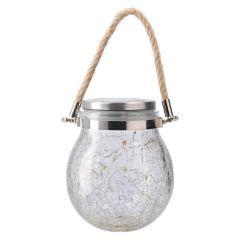 Solar-Kugel, Cracquele, warm-weiß, 14 cm