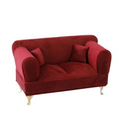 Schmuckbox Sofa, dunkelrot, 24 x 12 cm