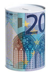 Spardose, 20 Euro Schein