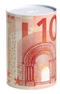 Spardose, 10 Euro Schein