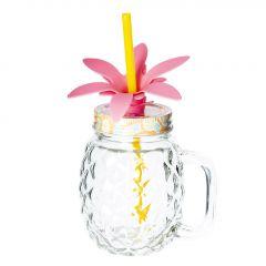 Glas mit Strohhalm Flamingo, gelb/gelb, 500 ml