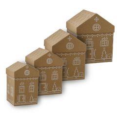 4er Set Geschenkkarton Hausform, weiß/kraft