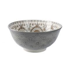 Schale China, groß, Relief, grau