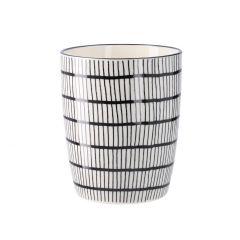 Becher China, konisch, schw/weiß, Gitter, 300 ml