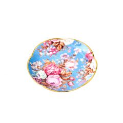 Teller China, Flower, blau/Goldrand, 11 cm