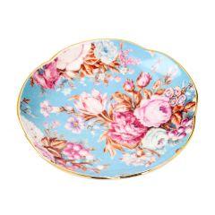 Teller China, Flower, mint/Goldrand, 16 cm