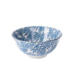 Schale China, groß, blau/silber, Zweige