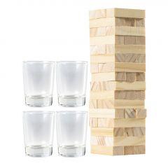 Trinkspiel Wackelturm, 4 Gläser