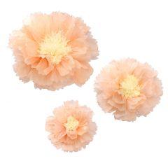 3er Set Deko-Blume, Papier, apricot/weiß