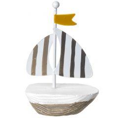Mini-Boot Fahne, beige/grau, gelbe Fahne, 9 cm