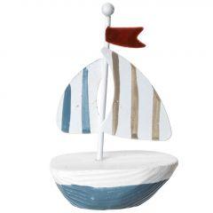 Mini-Boot Fahne, blau/beige, rote Fahne, 9 cm