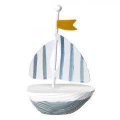 Mini-Boot Fahne, blau, gelbe Fahne, 9 cm