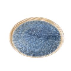 Schale Flecht, dunkelblau/natur, 40 cm