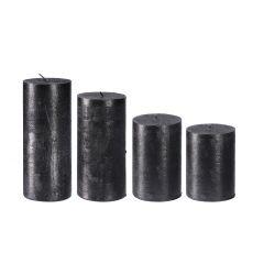 4er Set Stumpenkerze Metallic, schwarz