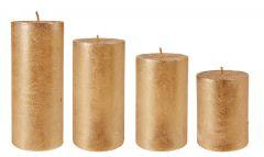 4er Set Stumpenkerze Metallic, gold
