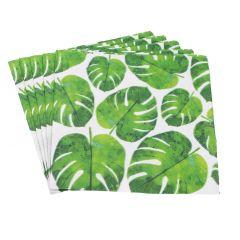 Serviette Blatt Monstera, grün/weiß, 20 Stück