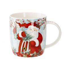 Becher Weihnachtsmann, hellblau, 350 ml