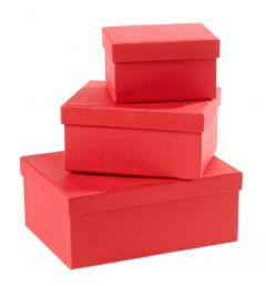3er Set Geschenkkarton Edel, klein, rot