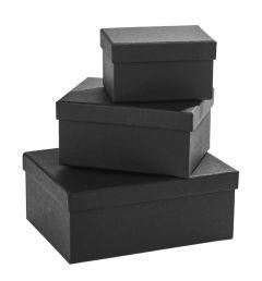 3er Set Geschenkkarton Edel, klein, schwarz