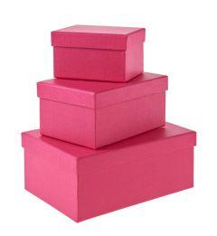 3er Set Geschenkkarton Edel, klein, pink