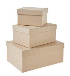 3er Set Geschenkkarton Edel, klein, creme