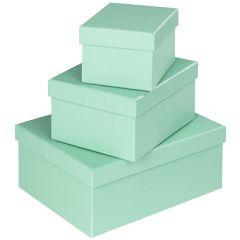 3er Set Geschenkkarton Edel, klein, mintgrün