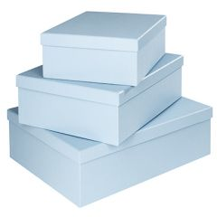 3er Set Geschenkkarton Edel, groß, hellblau
