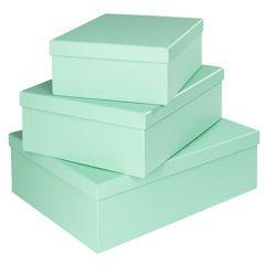 3er Set Geschenkkarton Edel, groß, mintgrün