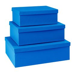 3er Set Geschenkkarton Edel, groß, dunkelblau