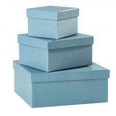 3er Set Geschenkkarton Edel, klein, aqua