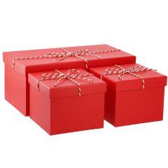 3er Set Geschenkkarton mit Kordel, rot