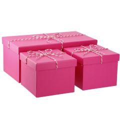 3er Set Geschenkkarton mit Kordel, pink