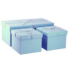 3er Set Geschenkkarton mit Kordel, pastellblau
