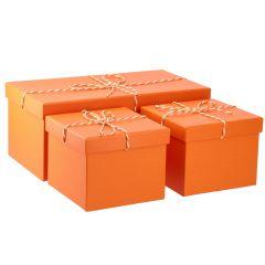 3er Set Geschenkkarton mit Kordel, orange