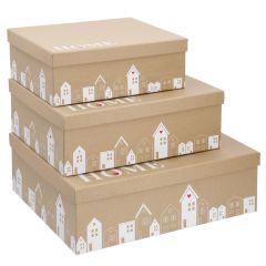 3er Set Geschenkkarton Haus, kraft
