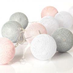Lichterkette Textilball, weiß/pink/grau, 10er